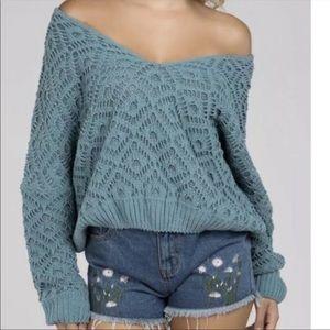 POL Teal Blue Open Knit Off The Shoulder Sweater